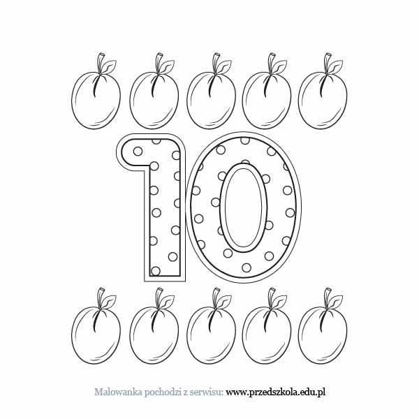 Kolorowanki Komiksy Do Druku Za Darmo Dla Dzieci I: Liczba 10 Kolorowanka. Darmowe Kolorowanki I Malowanki Dla