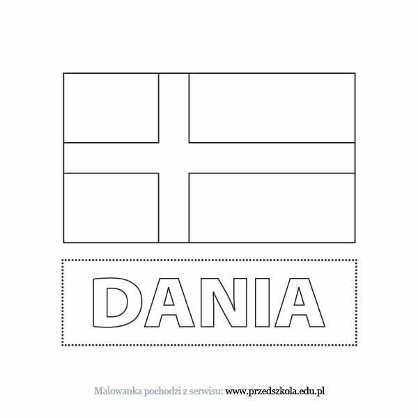 Flaga Danii kolorowanka. Darmowe kolorowanki i malowanki dla ...