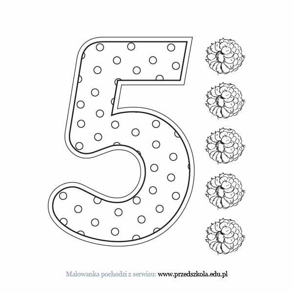 Liczba 5 kolorowanka. Darmowe kolorowanki i malowanki dla dzieci. Liczba 5  do druku.